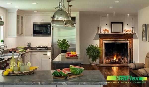 Trang trại kiểu nhà bếp với lò sưởi đáng yêu
